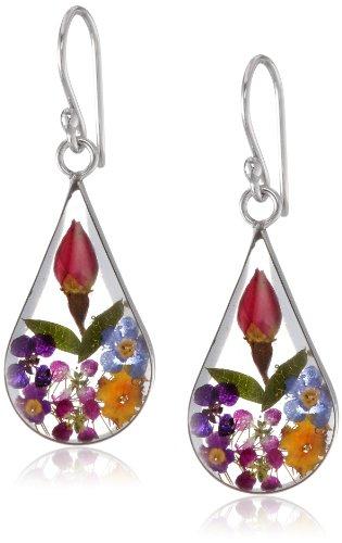 Sterling Silver Multi Pressed Flower Teardrop