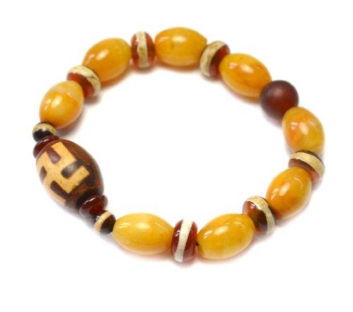 Tibetan Wandzi Dz Buddhist Swastika Yellow Jade Amulet Bracelet – Fortune Feng Shui Buddhist Jewelry