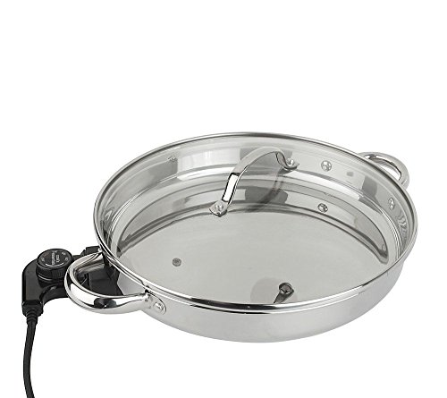 CooksEssentials 12″ Round Stainless Steel Skillet with Glass Lid