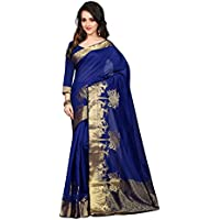 Anjani Enterprise Women's Blue Color Cotton Saree With Blouse Piece