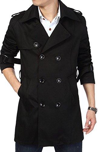 Normcore sense ( ノームコア センス ) 2016 jaco0819store 春 コート メンズ ◎上質 バーバリー ツイル トレンチコート 春物 秋 冬 防寒 ビジネス ◎ ダブル 綿 ギャバジン coat ( ブラック 3XL )