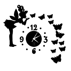Happy Hours - Creative Wall Clocks / Home DIY Decoration Watch / Fairy Butterfly Living Room Mirror 3D Wall Design(Black)