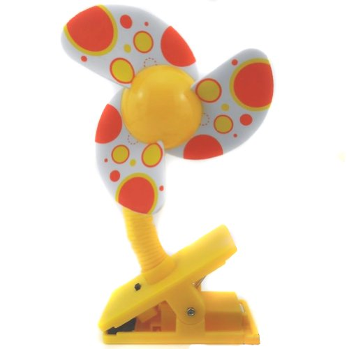 Nsstar Battery Powered Baby Clip-On Mini Stroller Fan for Strollers Baby Cots Playpens (Yellow)