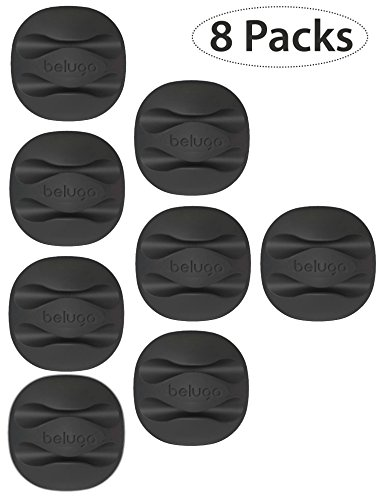 BELUGA Cable Clips & Cord Management System with 3M Back-Adhesive, Desktop Cable Organizer & Computer, Electrical, Charging or Mouse Cord Holder (Black) (8 pcs)
