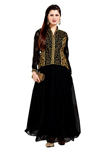 7 Colors Lifestyle Womens Georgette Anarkali Dress Material (Agzss1005Knth -Black -Free Size)