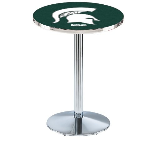"""Holland Bar Stool L214C Michigan State University Officially Licensed Pub Table, 28"""" x 42"""", Chrome"""