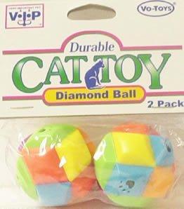 Vo-Toys Plastic Diamond Balls 2 pack Cat Toy