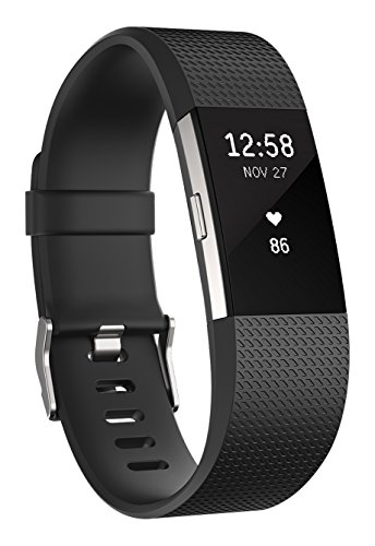 Fitbit Charge 2 Heart Rate Plus Fitness Wristband, Black, Large