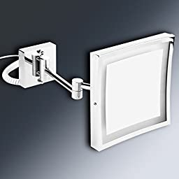 OFKP® 8.5 inch LED Wall Mirror Magnifying Square 3 times Luminous Folding Extension - Double Sided with normal Magnifying x3 - 180 degree rotation