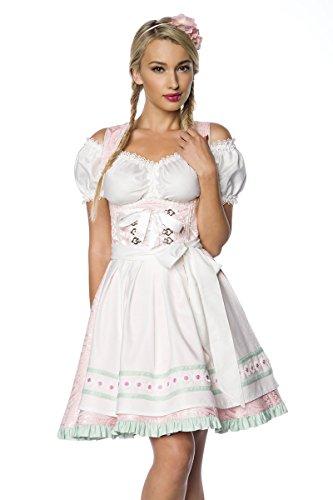 Luxus Designer Dirndl mit Schürze Kleid Dirndkleid Oktoberfest Tracht Trachtenkleid Spitze Brokat Paspelierung Rüschen Borte Weiß Mint Grün Rosa XS - 3XL thumbnail