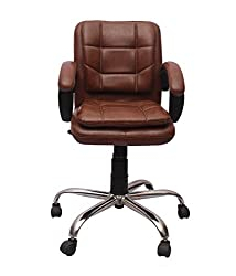 VJ 121-VISITOR-LB Office Chair (Natural Finish, Black)