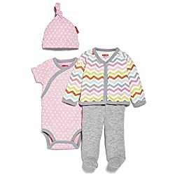 SkipHop Baby-Girls Starry Chevron 4 Piece Welcome Home Set, Pink, 3 Months