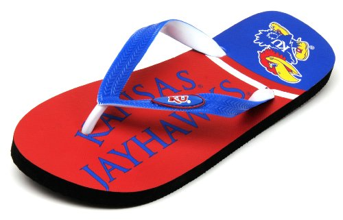 NCAA Kansas Jayhawks Spirit Flip Flops, Royal, Small at Amazon.com