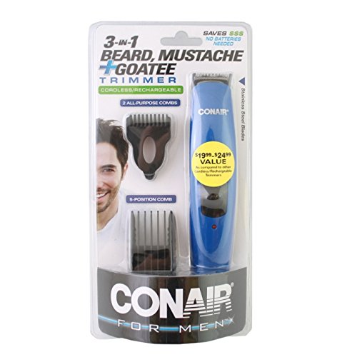 conair 3 in 1 all in one beard mustache goatee 4 piece cordless rechargeable trimmer. Black Bedroom Furniture Sets. Home Design Ideas