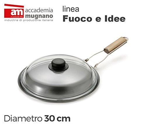 FISPD30 Spadella con coperchio in vetro 30 cm alluminio puro Linea FUOCO & IDEE. MWS