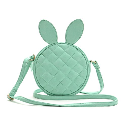 ASOS Girl's Cute Round Crossbody Bag with Rabbit Ear Quilted Shoulder bag - Aqua