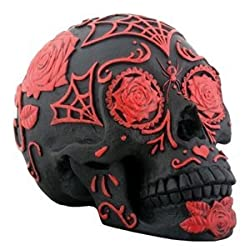 Day of the Dead DOD Dia De Muertos Tattoo Sugar Skull Red & Black Skeleton Statue Figurine