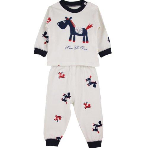 Deer Mum Cartoon Pony Pattern Long Sleeves 2 Pieces Pajama Set Pure Cotton (100, Blue) front-742561