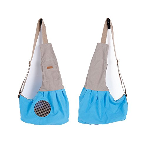 Zaino animali Carrier pacchetto borsa di tela Sling monospalla portatile conveniente LUCKLY (Blu)