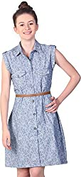 Unimod Women's Button Down Dress (Blue, XS)