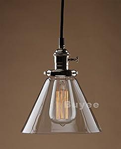 Buyee® Modern Vintage Industrial Edison Glass Shade Loft Coffee Bar Kitchen Hanging Pendant Lamp Light (brass head) by Shenzhen Buyee Trading Co.,Ltd