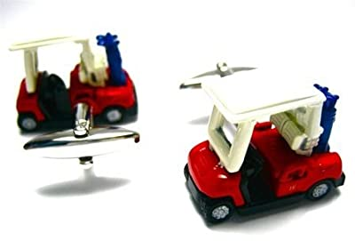 Golf Cart Ball Sports Club Car Cufflinks + Free Box & Cleaner