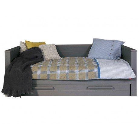 Alfred & Compagnie - Lit sofa bois massif 90x200 Gris acier