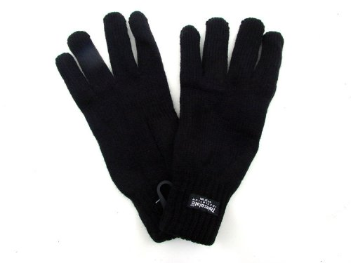 WARM KNITTED GLOVES WITH THINSULATE FLEECE INSULATION FOR LADIES GIRLS BLACK ONE SIZE