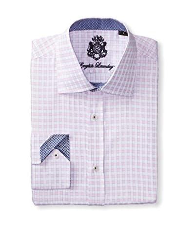 English Laundry Men's Gingham Long Sleeve Dress Shirt