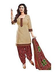 Nikki Fab Beige Cotton Unstitched Dress Materials