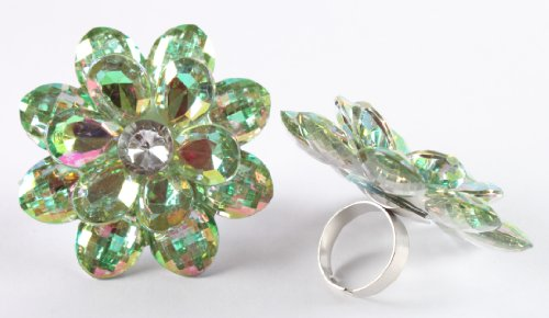 Ladies Light Green Double Flower Metal Adjustable Ring with Multicolor Shine