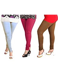 Lux Womens Combo Of Cotton Leggings (Set Of Three) - L 22-33-59