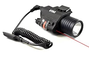 UTAC® RAS RIS Rail Mounted Tactical High output 200 Lumen LED Flashlight w/ Laser Sight, coiled remote pressure switch & Batteries installed