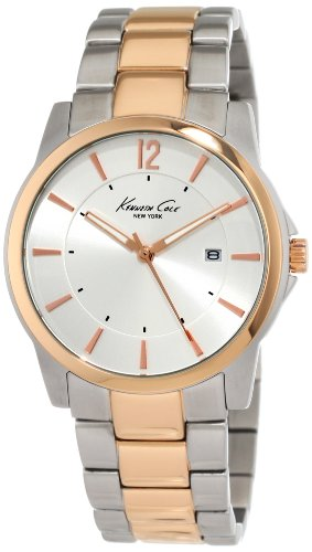 Kenneth Cole Men's Quartz Watch with Silver Dial Analogue Display and Gold Stainless Steel Bracelet KC9039