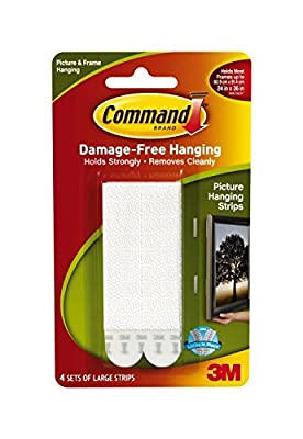 Command Large Picture-Hanging Strips, White, 12-Strip (Package include Free Retractable Pen)