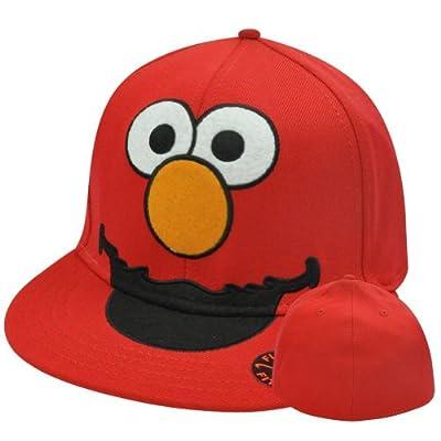Sesame Street Elmo Big Face One Size Flex Fit Stretch Flat Bill Brim Hat Cap