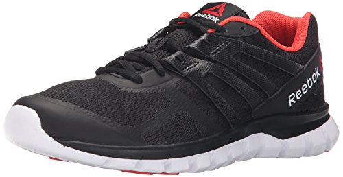 Reebok Women's Sublite XT Cushion MT Running Shoe, Black/Laser Red/White/Flat Grey, 9 M US