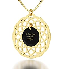 buy I Love You To The Moon And Back Necklace In Gold Plated - Mandala Pendant Inscribed In 24K Gold - Valentines Day Gifts For Her - Crystal Cubic Zirconia