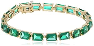 10k Yellow Gold Emerald Cut Created Emerald Bracelet, 7