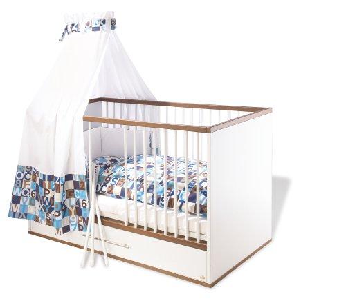 Pinolino-Kinderbett-Tuula-modernes-Kinderbett-140-x-70-cm-mit-3-Schlupfsprossen-und-Bettkasten-weiNussbaum-mit-Echtholzstruktur-Umbauseiten-enthalten-Art-Nr-11-00-12