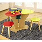 Triple Lego table with coloured stools