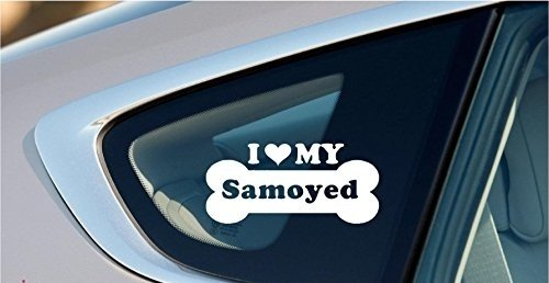 I Love My Samoyed Dog Bone Puppy Symbol White Vinyl Car Sticker Symbol Silhouette Keypad Track Pad Decal Laptop Skin Ipad Macbook Window Truck Motorcycle, Decal Sticker Vinyl Car Home Truck Window Laptop