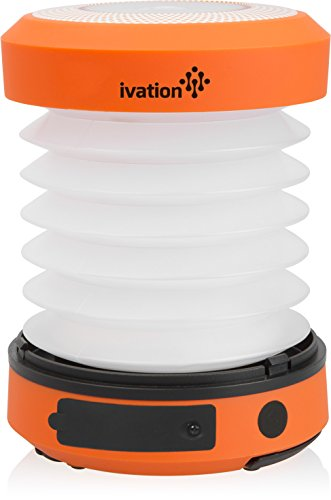 Ivation Hand crank LED Camping Lantern Collapsible & Rainproof, USB Flashlight torch Mini Lamp with hanging handle, 2 Lighting levels, Emergency Cell Phone charger, Recharges with dynamo power or via USB, Never need to change batteries, Easy to store