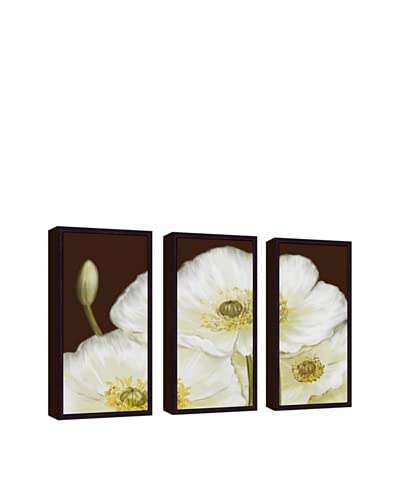White Poppy Giclée Triptych Canvas with Floater Frame As You See