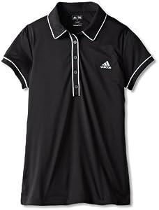 adidas Golf Girl's Fashion Performance Basic Polo, Black/White, X-Small