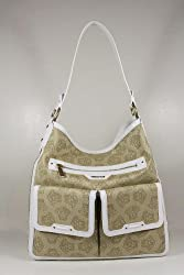 Versace Handbags Beige Canvas and White Leather DBFC765 Purse