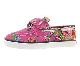Ralph Lauren Polo Toddler\'s Sander EZ Boat Shoe Sneaker, Pink Floral, Sz 6