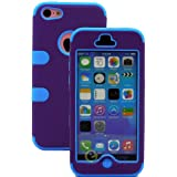myLife (TM) Sky Blue + Plum Purple Flat Color Style 3 Layer (Hybrid Flex Gel) Grip Case for New Apple iPhone 5C... by myLife Brand Products