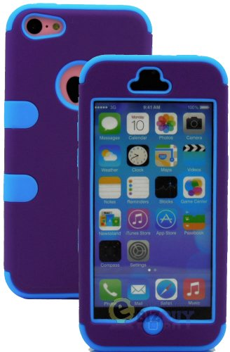 Mylife (Tm) Sky Blue + Plum Purple Flat Color Style 3 Layer (Hybrid Flex Gel) Grip Case For New Apple Iphone 5C Touch Phone (External 2 Piece Full Body Defender Armor Rubberized Shell + Internal Gel Fit Silicone Flex Protector + Lifetime Waranty + Sealed