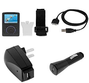 Durable Flexible Soft Black Silicone Skin Case with Belt Clip and Armband + USB Car + USB Home Travel Charger + USB Data Cable for Sandisk Sansa Fuze